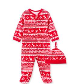 Little Me Holiday Folk Stripe Footie