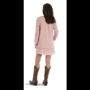 Wrangler Long Sleeve Crochet Tunic Dress Pink