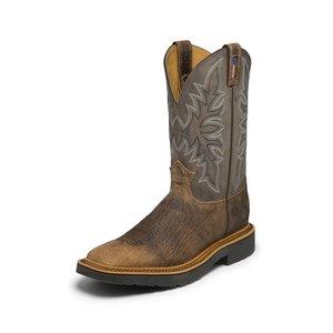 Justin Original Work Boots Scottsbluff Grey Square Toe