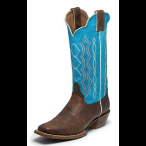 Justin Boots Katia Chocolate/Aqua Square Toe