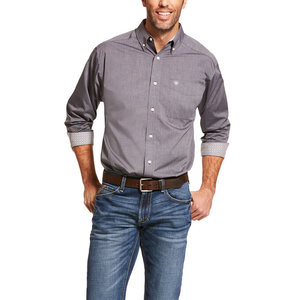Ariat Wrinkle Free Solid Pinpoint Long Sleeve Shirt