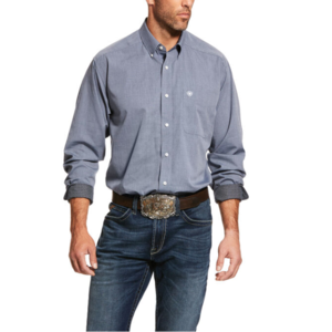 Ariat Men's Wrinkle Free Long Sleeve Solid Pinpoint Oxford Button Up