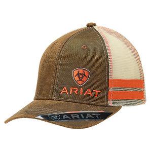 Ariat Oilskin/ Orange Side Stripe Cap