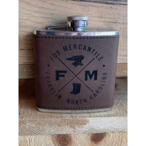 Fox Mercantile Fox Leather Wrapped Flask