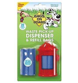 Bags on Board Poop Bag Dispenser with 30 bags - Fire Hydrant