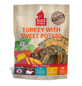PLATO DOG TREATS Sweet Potato Turkey 12oz