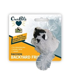 OurPets Backyard Friend Squeaking Raccoon Cat Toy