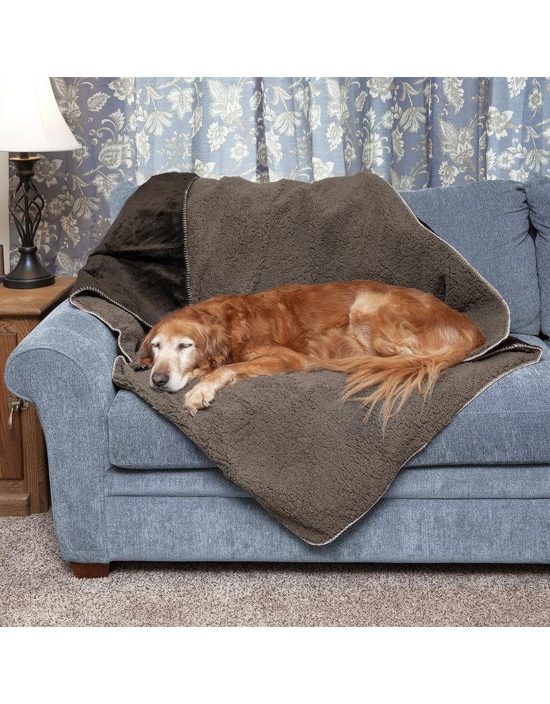 FurHaven Waterproof Snuggly Warm Faux Lambswool & Terry Blanket - Large