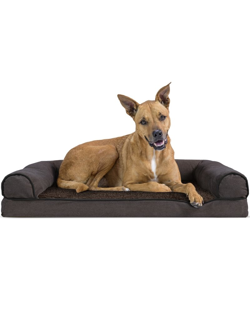 FurHaven Orthopedic Sofa Bed - Large - Faux Fleece & Chenille - Coffee