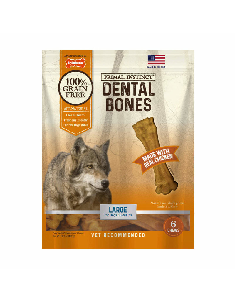 Nylabone Primal Instinct Dental Bone Chicken Large 6ct