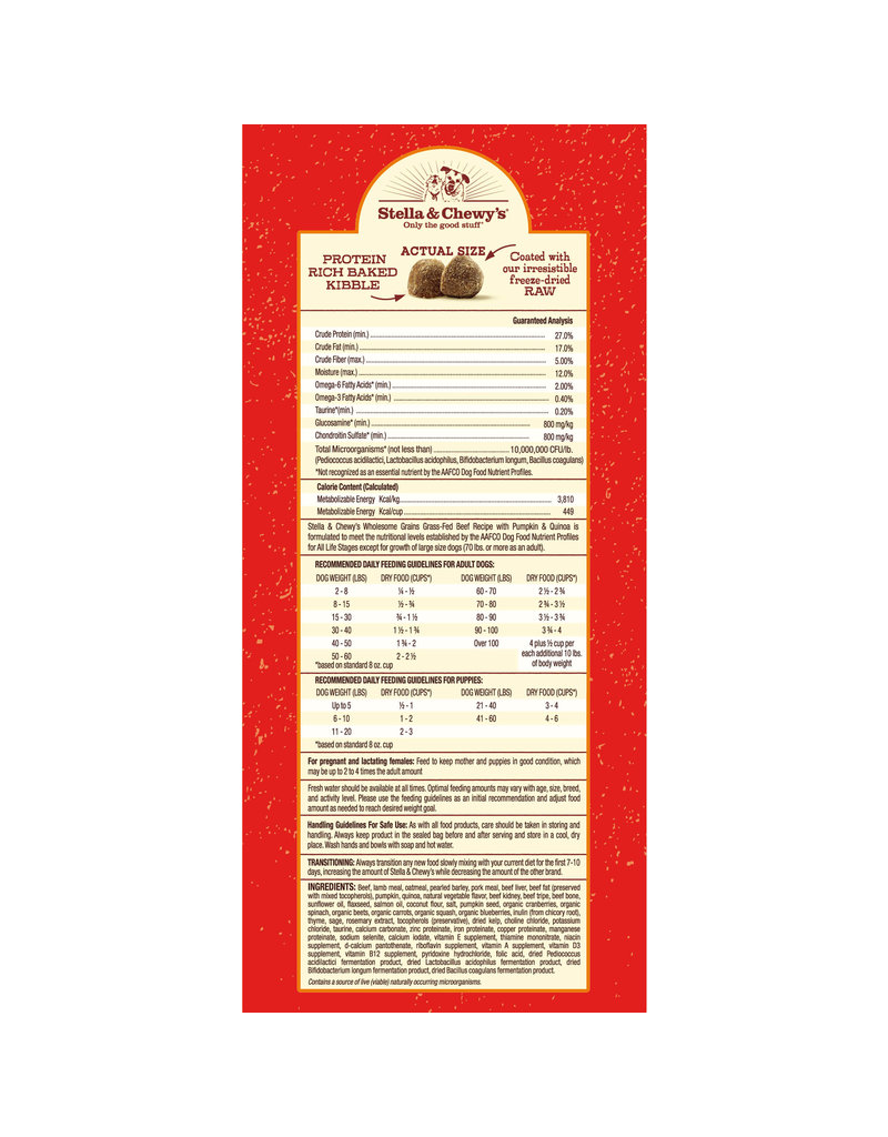 Stella & Chewy's Raw Coated Beef Recipe with Wholesome Grains 22lb