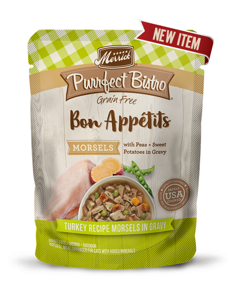 Merrick Purrfect Bistro Bon Appetits Turkey Morsels in Gravy  3oz