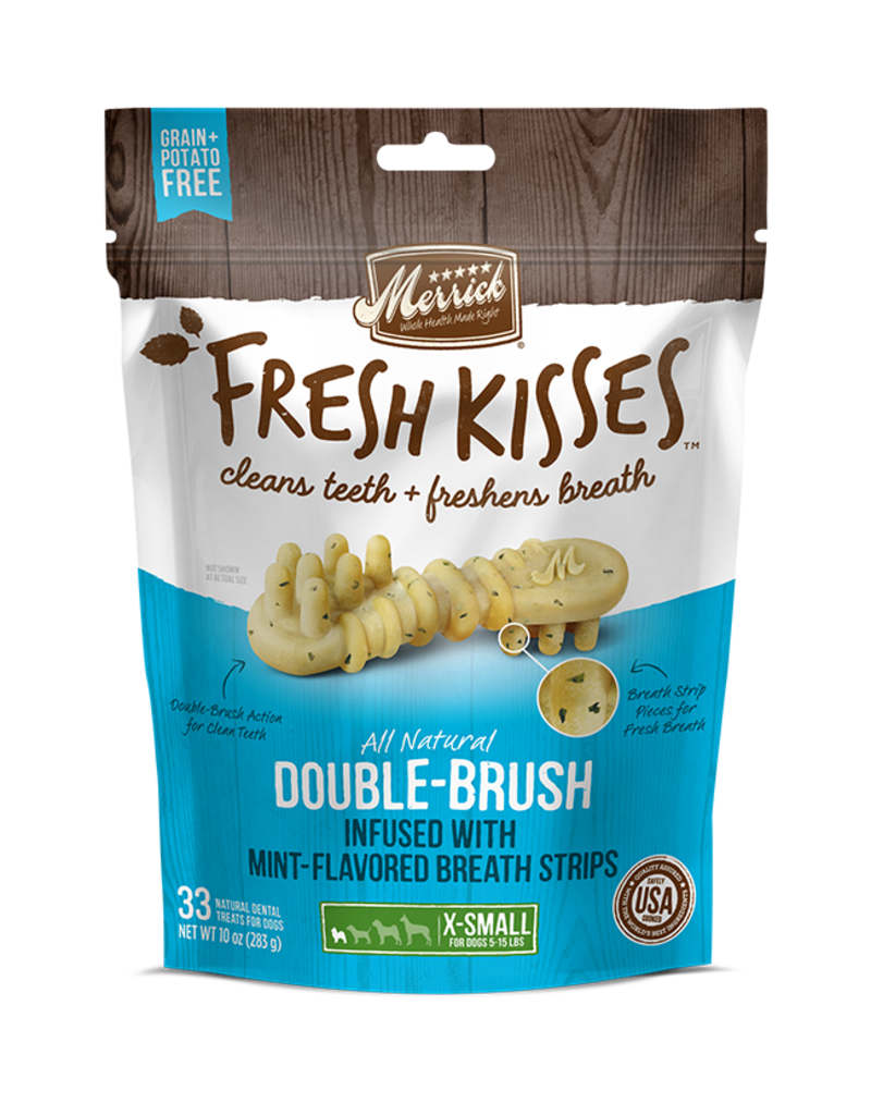 Merrick Fresh Kisses Double-Brush with Mint Breath Strips XS 20ct