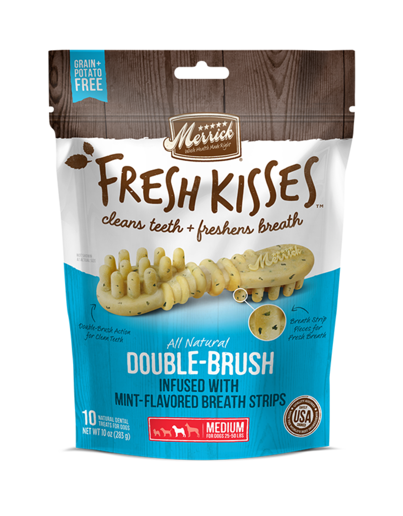 Merrick Fresh Kisses Double-Brush with Mint Breath Strips Medium 10ct
