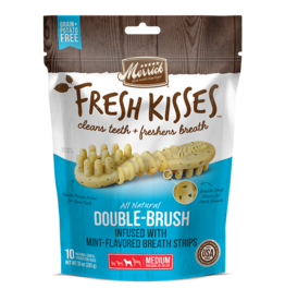 Merrick Fresh Kisses Double-Brush with Mint Breath Strips Medium 6ct