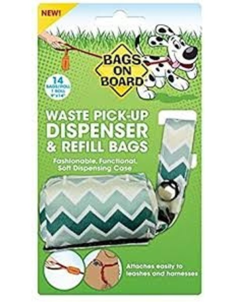 Bags on Board Poop Bag Dispenser with 14 Bags - Chevron Green