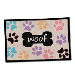 Loving Pets Bella Food & Water Mat Woof with Paws