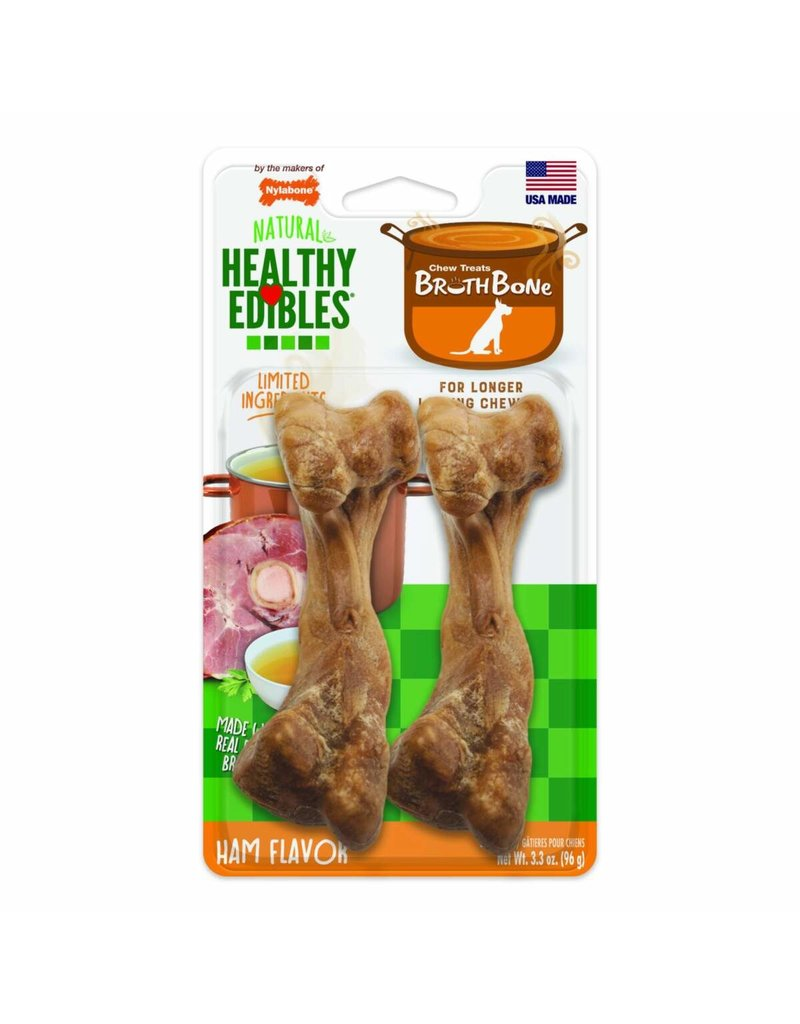 Nylabone Healthy Edibles Ham Bone Broth Wolf 2ct