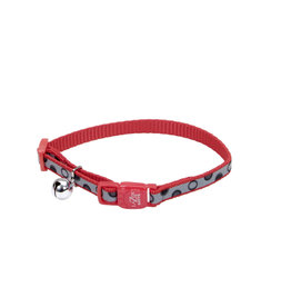 "Coastal Reflective Cat Collar Red Bubbles 3/8""W 12""L"