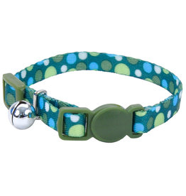 "Coastal Cat Collar Green Dots 5/16""W 8""L"