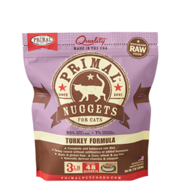 Primal Feline Frozen Raw Nuggets Turkey 3lb