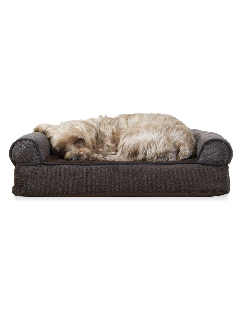 FurHaven Orthopedic Sofa Bed - Small - Sherpa & Chenille - Coffee