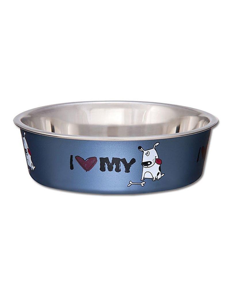 Loving Pets Bella Bowls I Love My Dog Blue 72oz