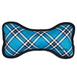 Worthy Dog Plaid Bone Blue Small