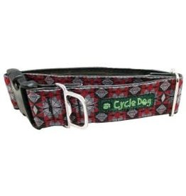 Cycle Dog Collar Kaleidoscope Grey and Red Large