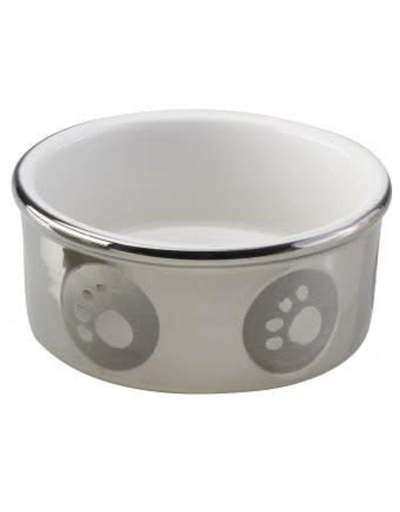 Ethical Pet Titanium Stoneware Dog Dish Paw Print 5in