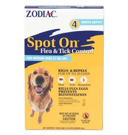 Zodiac Spot On Flea & Tick Control for Dogs 31-60lb 4pk