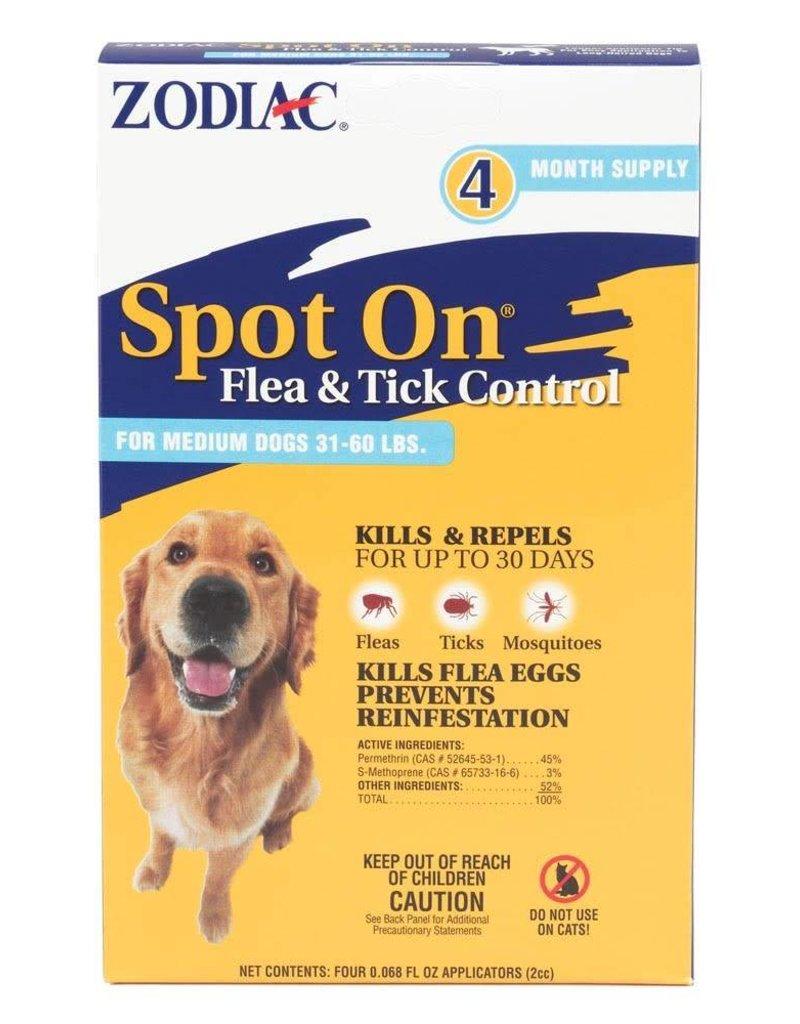 Zodiac Spot On Flea & Tick Control for Dogs 31-60lb 4pk