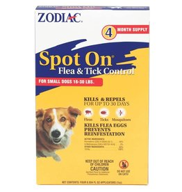 Zodiac Spot On Flea & Tick Control for Dogs 16-30lb 4pk