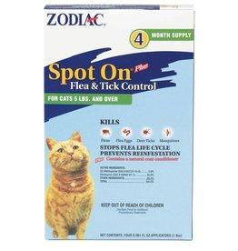 Zodiac Spot On Flea and Tick Cat >5lb 4pk