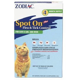 Zodiac Spot On Flea & Tick Cat Over 5lbs 4pk