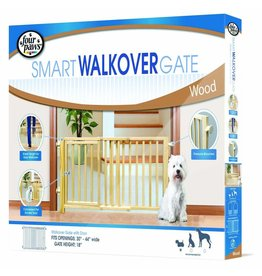 "Four Paws Smart Walkover Gate Wood 30-44"" 18""H"