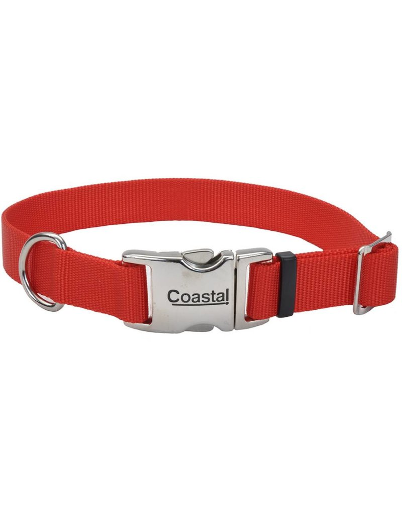 "Coastal Metal Buckle Collar Red 1""W 20""L"