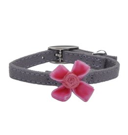 "Coastal Cat Collar Grey with Pink Bow 5/16""W 8""L"