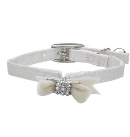 "Coastal Cat Collar White with Bow Silk 5/16""W 8""L"