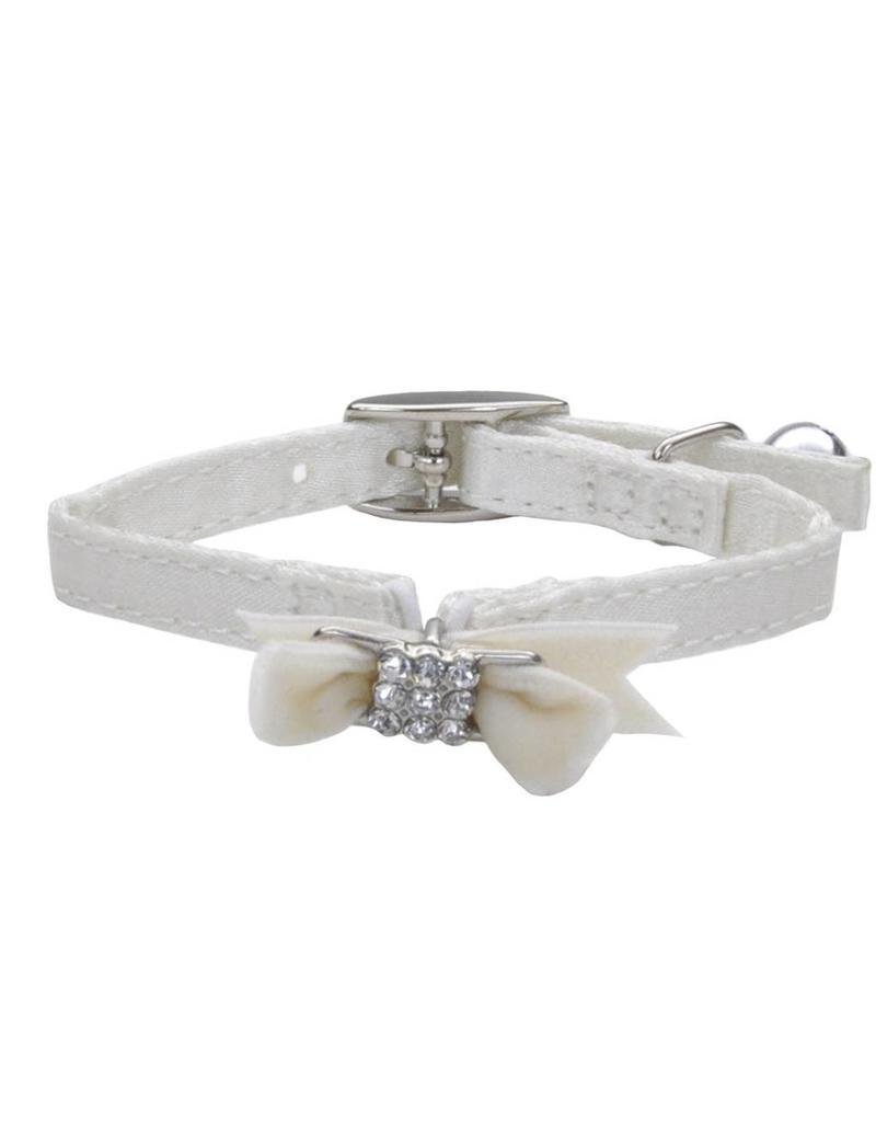 "Coastal Cat Collar White with Bow Silk 5/16""W 8""L"