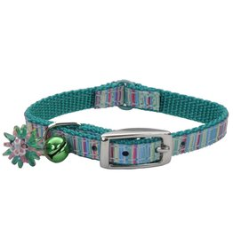 "Coastal Cat Collar Green Stripe 5/16""W 8""L"