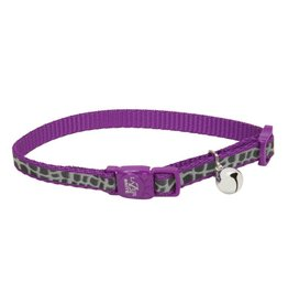 Coastal 3/8 Reflective Cat Collar Purple Animal Print 12""