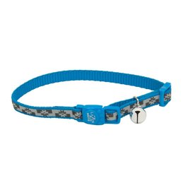 Coastal 3/8 Reflective Cat Collar Blue Lagoon Flowers 12""