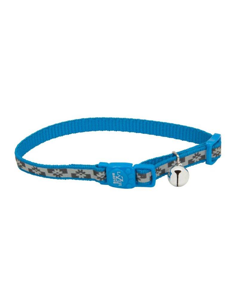 "Coastal Reflective Cat Collar Blue Lagoon Flowers 3/8""W 12""L"