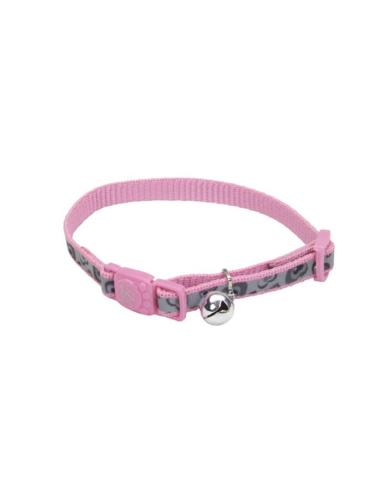 "Coastal 3/8 Reflective Cat Collar Pink Hearts 12"""