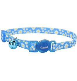 "Coastal 3/8"" Safety Cat Collar Daisy Blue 12"""