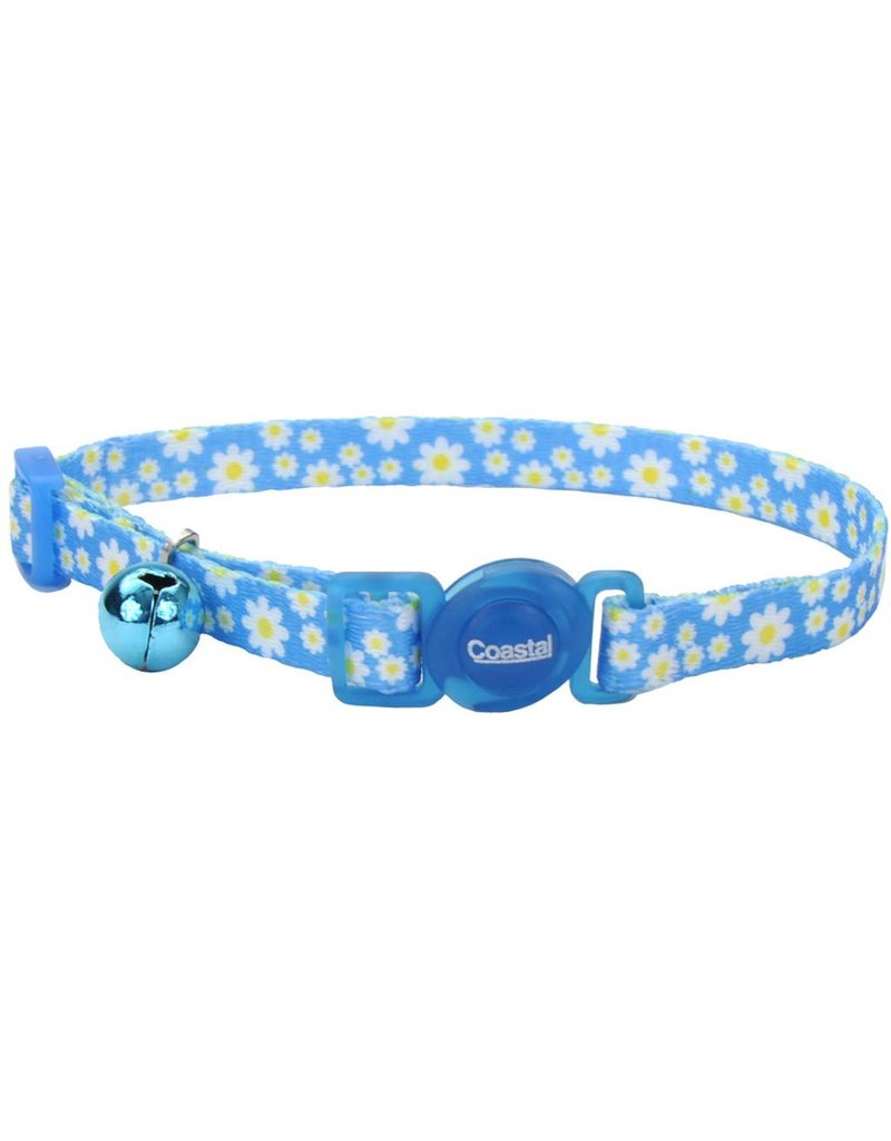 """Coastal Cat Collar Daisy Blue 3/8""""W 12""""L"""