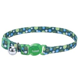 "Coastal 3/8"" Safety Cat Collar Green Dots 12"""