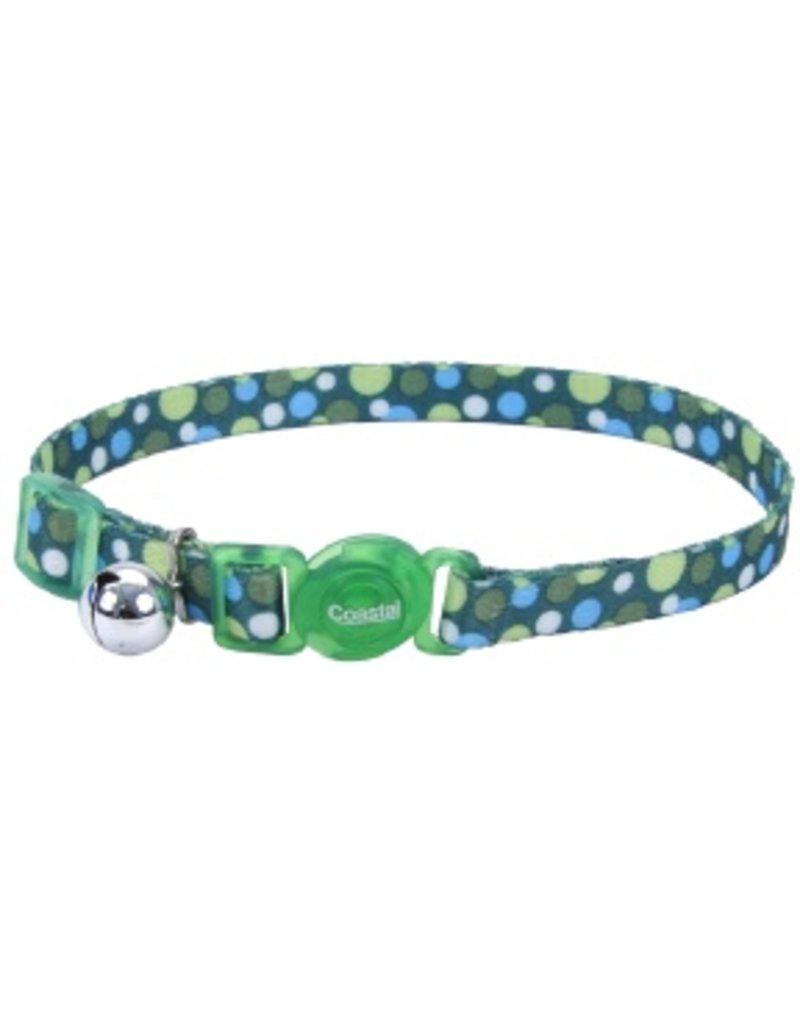 """Coastal Cat Collar Green Dots 3/8""""W 12""""L"""