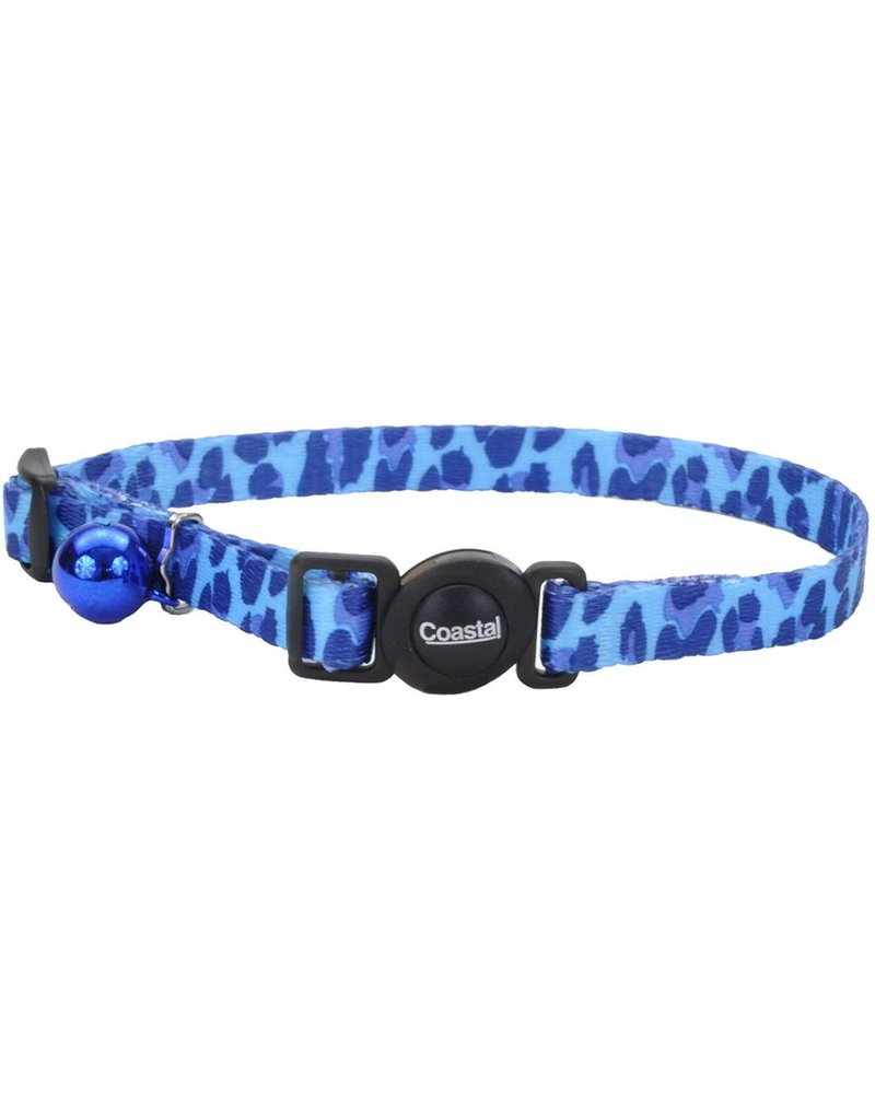 "Coastal Cat Collar Blue Leopard 3/8""W 12""L"